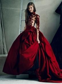 valentine dark red ball gown